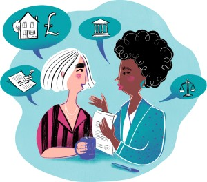 Illustration of two women discussing with conversation bubbles showing images representing housing, paperwork, law, money.
